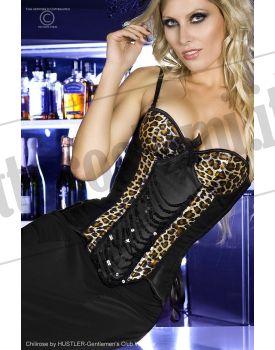 Corpetto in raso nero/leopardato con paillettes