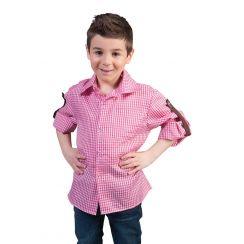 Camicia bavarese ROSA-BIANCO con laccio bambino