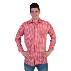 Camicia bavarese ROSSO-BIANCO uomo