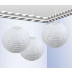 Confezione con 3 globi bianchi 25 cm