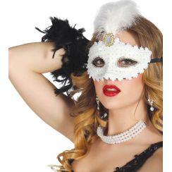 Maschera bianca con piuma