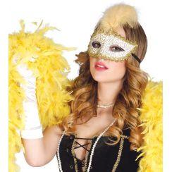 Maschera oro con piuma