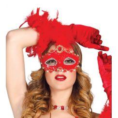 Maschera rossa con piuma