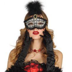 Maschera nera con piuma