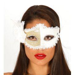 Maschera bianca con rosa bianca