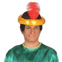 Copricapo Maharaja con piuma rossa