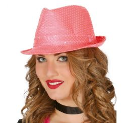 Fedora rosa in paillettes