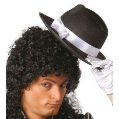 Cappello GANGSTER nero fascia bianca