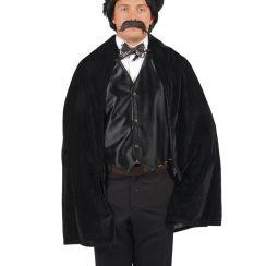 Mantello nero con cappuccio 100 cm