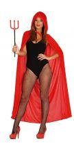 Mantello rosso con cappuccio 130 cm