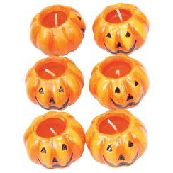 Confezione con 6 candele zucca