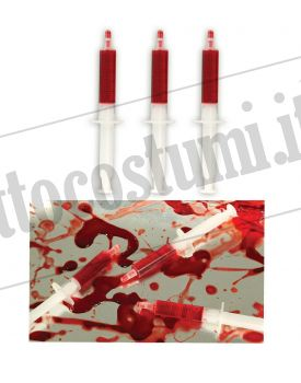 Set tre SIRINGHE con SANGUE