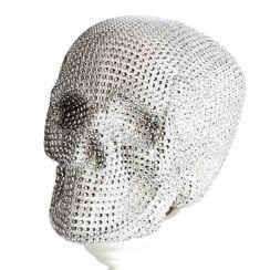 Teschio brillantini argento 20 cm