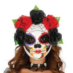 Maschera scheletro PAPEL MACHE con fiori