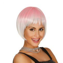 Parrucca corta rosa e bianca degradé