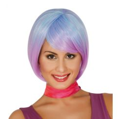 Parrucca corta azzurra e lilla degradé