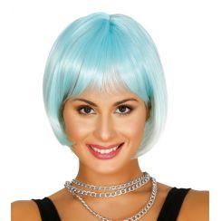 Parrucca corta turchese e bianca degradé