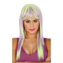 Parrucca lunga gialla e lilla degradé