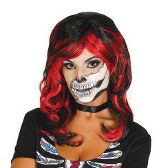 Parrucca nera con meche rosse