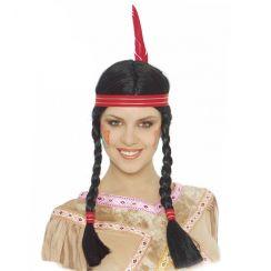Parrucca indiana con piuma