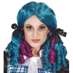 Parrucca azzurra con code e boccoli