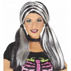 Parrucca con code bianco/nero