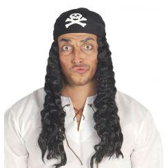 Cappello pirata con parrucca