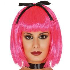 Parrucca rosa con fiocco