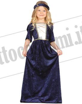 Costume DAMA MEDIEVALE BLU bambina