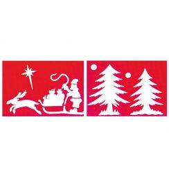 Confezioni di due STENCIL SLITTA e ALBERI 35 X 25 cm