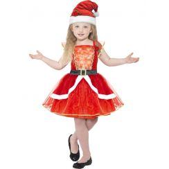 Costume ELEGANTE MISS SANTA bambina