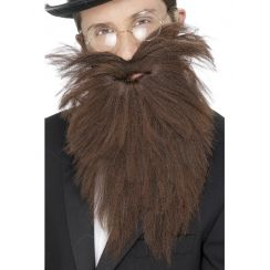 Barba lunga castana scalata con baffi