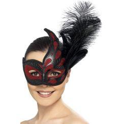 Maschera Colombina nera e rossa con piuma
