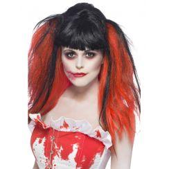 Parrucca BLOOD DRIP nera e rossa