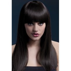 Parrucca ALEXIA liscia, castana lunga, frangia