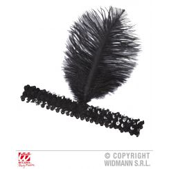 Fascia in paillettes nera con piuma nera