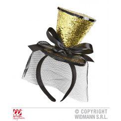 Cappellino glitter oro veletta