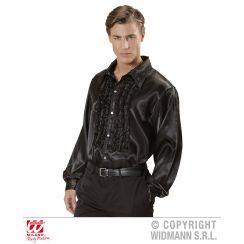 Camicia con volant in raso nero XL