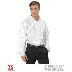 Camicia con volant in raso bianca XXL