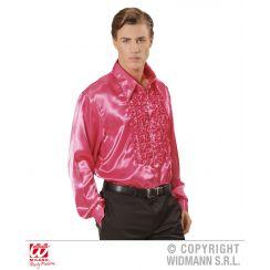 Camicia con volant in raso rosa XL