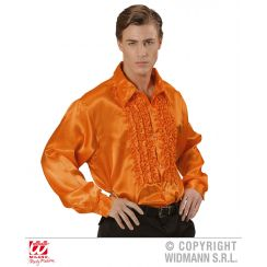 Camicia con volant in raso arancione XL