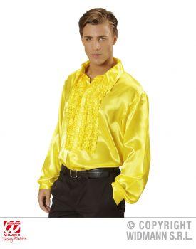 Camicia con volant in raso giallo
