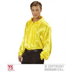 Camicia con volant in raso giallo XL