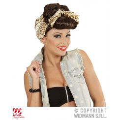 Parrucca PIN UP GIRL ROCKABILLY CASTANA CON FOULARD  ANIMALIER