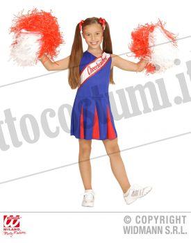 Costume CHEERLEADER blu rossa bambina