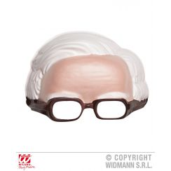 Maschera MEZZA TESTA capelli bianchi