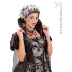 Collana girocollo con perline nere e  gemme viola