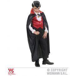 Mantello nero con colletto rosso 110 cm (bambino)