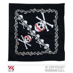 Bandana nera con teschio pirata