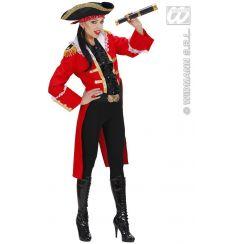 Costume CAPITANO PIRATA DONNA rosso